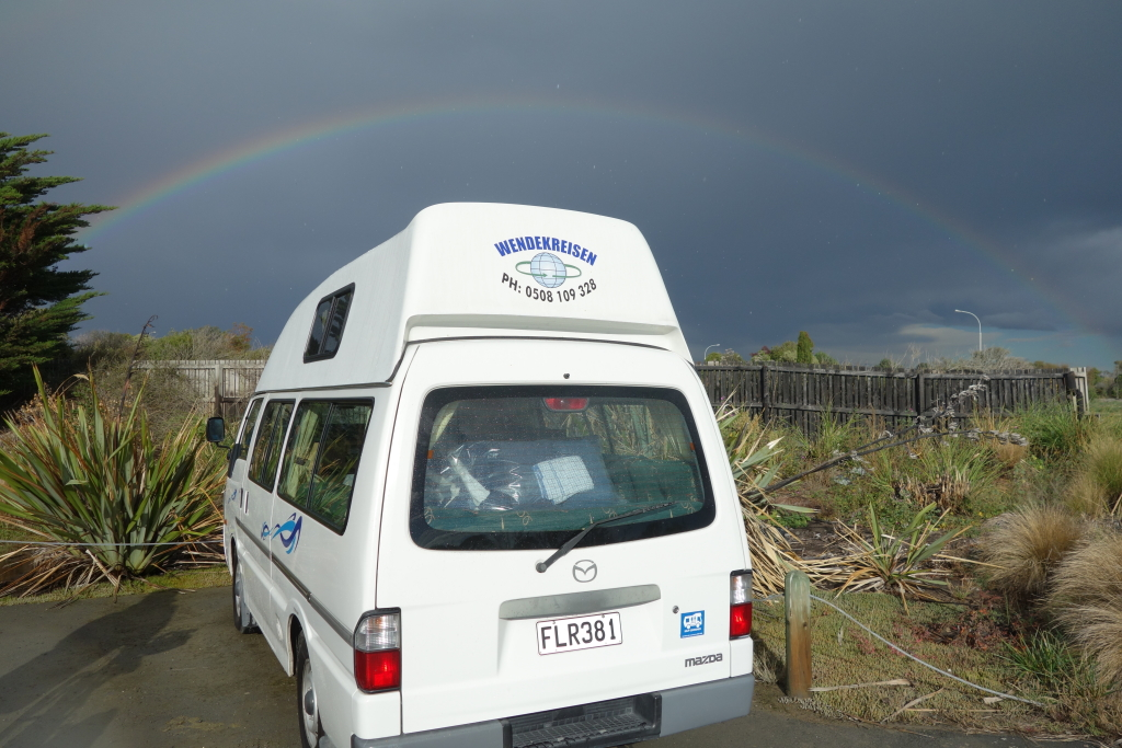 The Shark Mobile and a rainbow